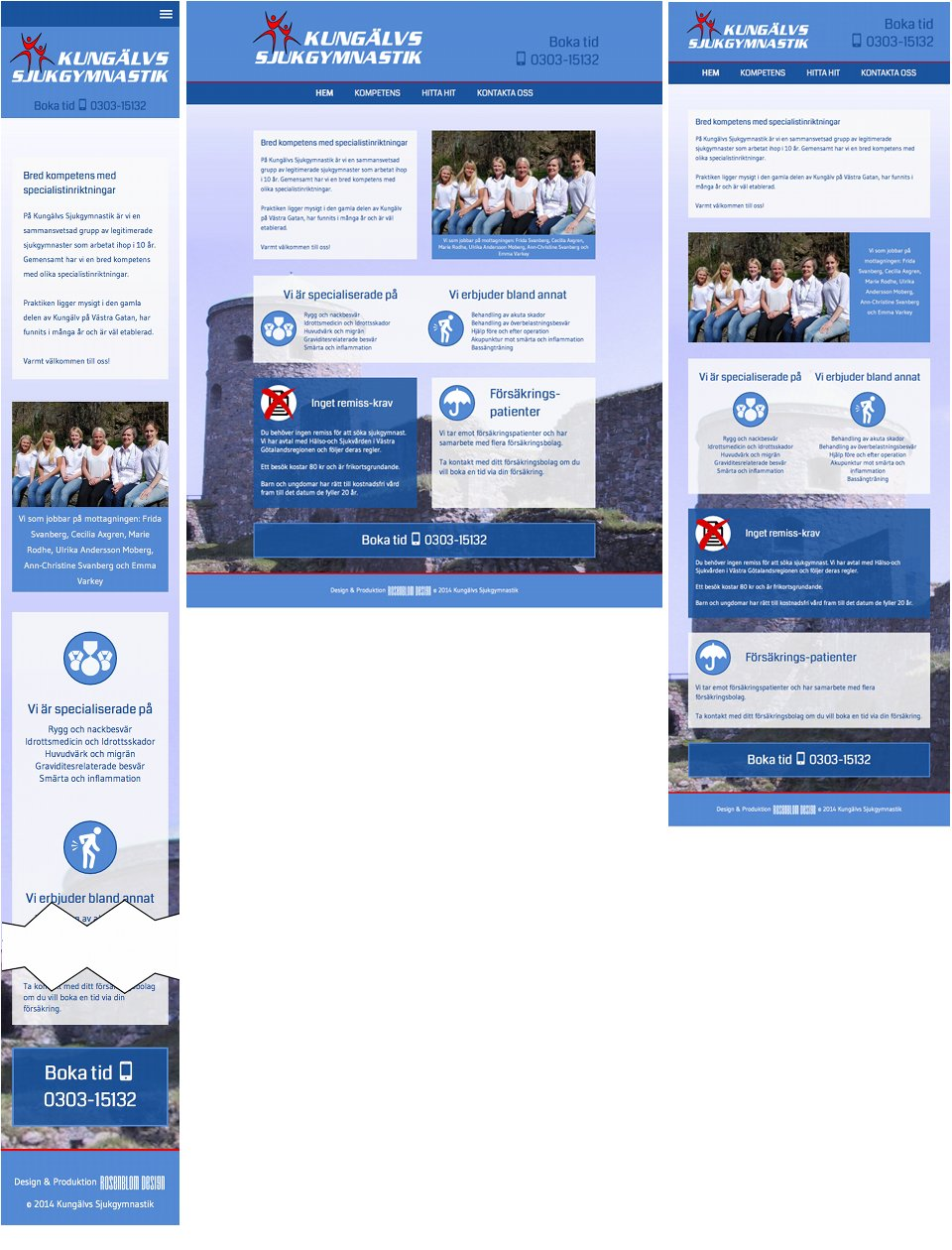 Jämförelse av startsidan i smartphone, desktop, tablet