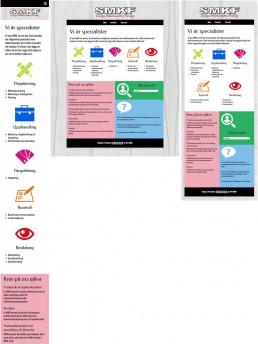 Responsiv jämförelse av startsidan. Smartphone, Desktop, Surfplatta.