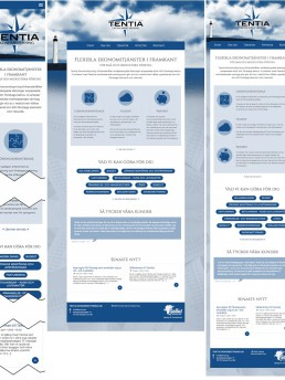 Responsiv jämförelse av startsidan: smartphone, desktop, tablet