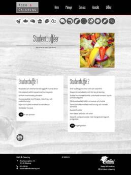 Skräddarsydda sidor för presentation av menyer/bufféer