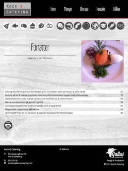 Skräddarsydda sidor för presentation av menyer/maträtter